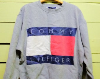 Vintage 90's Tommy Hilfiger Big Logo Hip Hop Hoodies Sweatshirt Streetwear (XL Size)