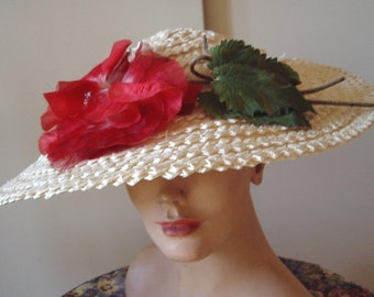 Original 1940s White Straw Hat Red Poppy Trim  Item # 116  Hats