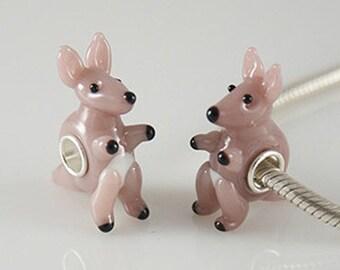 1 Bead - Brown Kangaroo Australia Animal Sterling Silver Core .925 Lampwork European Bead Charm GJ2134 LC0057