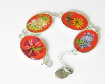 Pressed Flower Bracelet,  Adjustable,  Real Flowers,Silver Plated Brass,  Resin (1937)