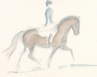 """Horse Art, Painting, Equestrian Original Watercolor by Anna Noelle Rockwell, """"Nice Package"""""""