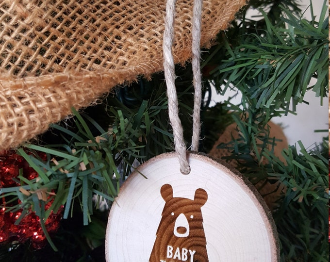 Baby Bear - Christmas Ornament - Engraved Wood Slice Ornament - Family Ornament - Gift Tag