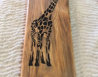 Giraffe Inlay Wall Carving