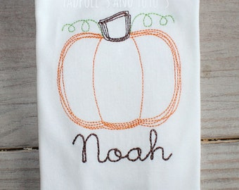 Pumpkin Tshirt, Tee or Bodysuit, Personalized Stitched Pumpkin, Monogram Pumpkin Shirt, Embroidery Pumpkin Shirt