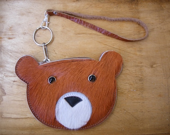 Rusty the baby bear, fur wristlet READY TO SHIP