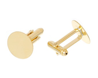 Lot of 12 Gold Plated Cuff Links (6 pairs) - 15mm Glue Pad