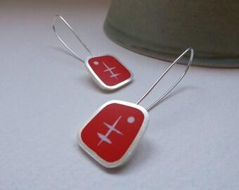 Orange Drop Earrings - Orange Geometric Earrings - Mid Century Design - Sterling Silver - Gift for Best Friend - Graphico Atomic