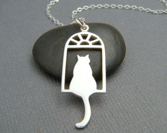 silver cat in window necklace. small sterling silver pet pride pendant. feline charm. simple gift animal love sunset cat jewelry. 1 1/4""