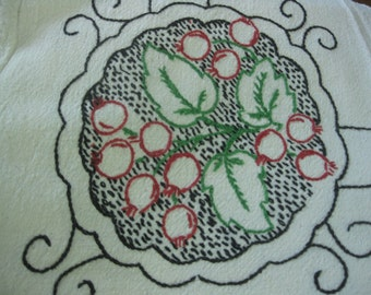 Vintage Embroidered Tablecloth With Unusual Radish/Cherry/Strawberry Design In Each Corner, Arts and Crafts