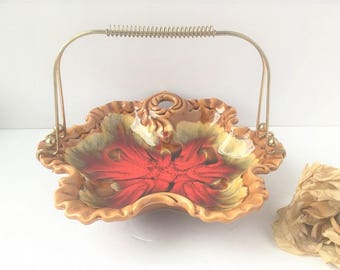 Retro Belgo Dish w Metal Handles / Vintage Serving Tray / Serving Tray / Coffee Table Dish / Red Candy Dish / Small Serving Dish