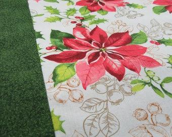 Poinsettia on Snow Too- Table Runner