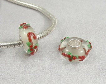 Candy Canes Large Hole Lampwork Glass Bead - 925 Sterling Silver European Bead Charm