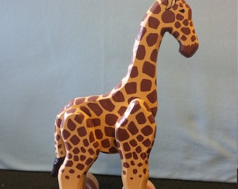 Large Wooden Giraffe Rolling Toy with Optional Pull String for Toddlers and Kids