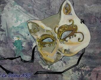 VENETIAN mask ART PRINT, Mardi Gras wall print, Carnevale, Cat style mask Print, Cottage home decor, Baroque mask photo print, Venice