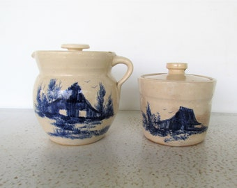 Set of 2 Covered Pitcher and Crock with Lid Blue Barn Paul Storie Marshall Pottery Canister