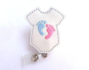 Retractable badge holder - Baby Love - white glitter vinyl bodysuit with baby feet - pediatrician nurse labor delivery midwife - badge reel