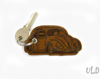 Volkswagen Beetle Keychain, Brown Leather Keychain, VW Bug Key Chain, Key Chain with hand drawn pyrographic detailing, Key Ring