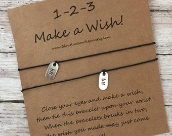 BFF Wish Bracelet.Best Friend Wish Bracelet.Friendship Bracelet.BFF Gift.Bracelet.Charm Bracelet.Gift.Best Firends.BFF Charm Bracelet