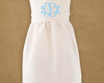 Monogrammed Linen Dress Sundress Beach Picture Summer Easter Pink White