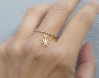 Dangle weed ring - Tiny marijuana adjustable ring -  mini pot ring - silver marijuana ring - tiny gold cannabis ring - rose gold weed ring