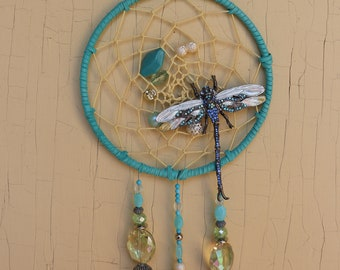 Teal Turquoise Dragonfly Dream Catcher/Dreamcatcher/wedding/birthday/couture/hautecouture/Avant Garde/Dragon fly/Opal