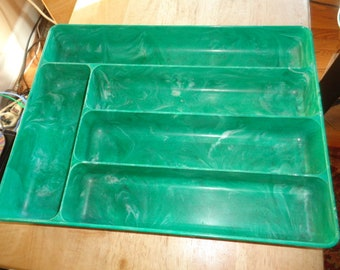 Lustro Ware Green Marbled Silverware Tray stock NO T-2 Columbus  Plastic Products Inc USA
