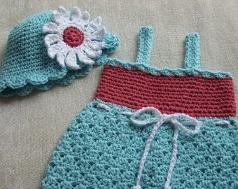 Sweet Summer Sundress and Matching Hat crochet pattern pdf 6 sizes included newborn - child, Instant Pattern Download Available