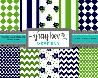 SALE! Lime & Navy- Digital Papers, Scrapbook Papers, Patterns, Backgrounds, Commercial Use, Instant Download-DP204