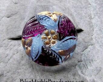Flower Button, Leaf Button, Reverse Painted, Czech Glass Button, Vintage Button, Blue And Purple, Small Button, Spring Button, 1 Button