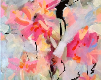 Pink abstract art, original painting, contemporary art, modern art, expressionist, acrylic painting, wall decor, floral, 24 x 18