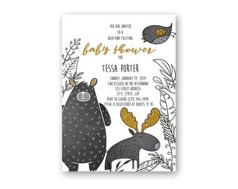 Woodland Creatures Baby Shower Invitation - Printable Baby Shower Invitation - Digital Invitation -Digital File -Black and White Baby Shower