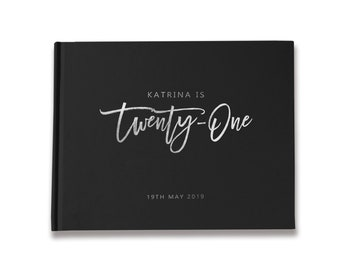21st Birthday Guest Book Custom, Birthday Sign In Book, Black with Silver Foil Guest Book, Color Choices Available, BB001