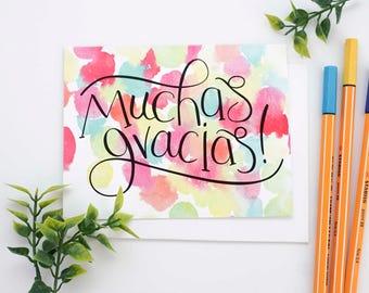 Mexican Thank You Cards, Muchas Gracias Card, Bulk Thank You Notes, Fiesta Thank You, Hand Lettered Thank You Card Set, Spanish Thank You
