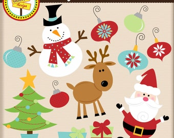 Christmas Clipart - Christmas Clip Art - Cute Digital Clipart- Personal Use - Commercial Use - Card Design, Scrapbooking, Web Design