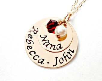 Gold Filled Hand Stamped Mommy, Grandmother, Nana Necklace - Personalized Custom Jewelry - Stacked Discs Swarovski Charms Mother's Day Gift