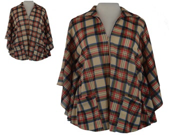 60s Poncho, 1960s Plaid Cape, 60s Vintage Poncho, Mod Cape, Plaid Shawl, Womens Poncho and Wraps, Capes and Ponchos, One Size Fits Most