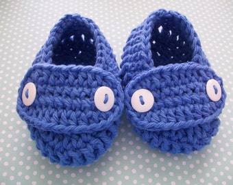 Blue Baby Booties, Blue Baby Shoes, Blue Newborn Shoes, Blue Crib Shoes, Blue Cotton Baby Booties, Blue Crochet Baby Shoes