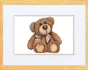 Bear With Bow Tie Picture Oak Framed Print Wall Art By Kevin Wood 11x14 or 10x8 Uk Artist
