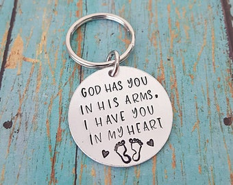 Infant Loss Keychain - Loss of an Infant - Infant Loss - Baby Loss - God - Keychain - Heart  - Hand Stamped - Miscarriage - Miscarriage Gift