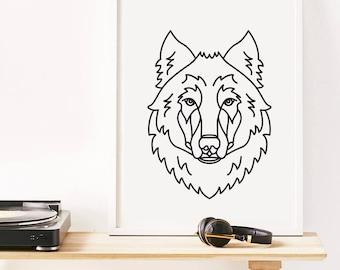 Wolf Print, Animal Illustration, Wolf Art, Digital Download, Instant Printable, Trending Now, Most Popular Item
