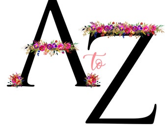 Floral Alphabet High Quality Digital Clip Art Clipart Printable Instant Download A to Z, A through Z, All 26 Letters