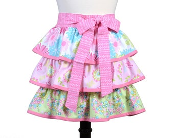 Womens Flirty Retro Half Apron in Ruffles of Pink Green and Teal Florals Three Layered Skirt Completely Lined