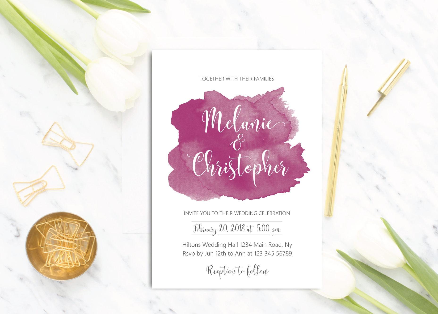 Ziemlich Druckbare Vorlagen Der Hochzeitseinladungen Bilder - Entry ...