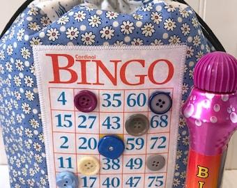 Bingo Bag, Drawstring Tote Bag, Knitting Project Bag, Grandmother Gift, Bingo Gift, Bingo Dauber Bag, Unique Makeup Bag, Bingo Purse