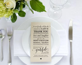 Printable Place Setting Thank You Card (4x8) - Wedding Thank You