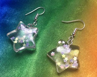 Kawaii Glitter Star Dangle Earrings