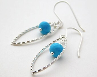 AA Grade Turquoise Marquise Earrings, Blue Gemstone Earrings, Textured Sterling Silver Earrings, December Birthstone Earrings, Silver Drop