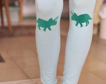 sale, Green leggings, womens leggings, green tights, dinosaur print, mint green, light green, womens tights, high waist