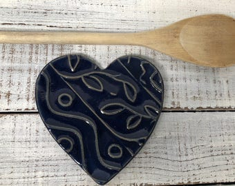 Heart Spoon Rest -  Lace Floral Dish-  Dark blue - Jewelry Dish- Soap Dish- Ceramic Heart- Coffee Spoon rest- Kitchen Decor -  pottery