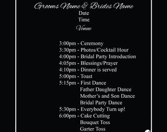 Reception Itinerary, weddings, special occasions